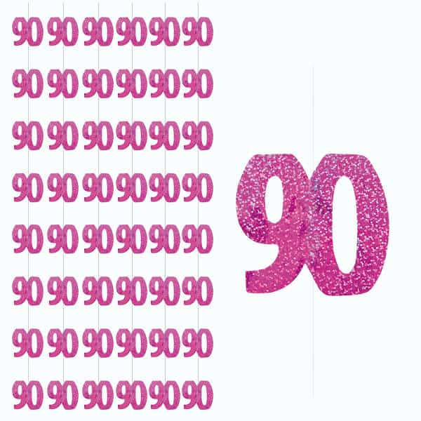 Pink Glitz 90th Birthday Hanging Decoration - 5 Ft / 152cm - Pack of 6 Strings Product Image