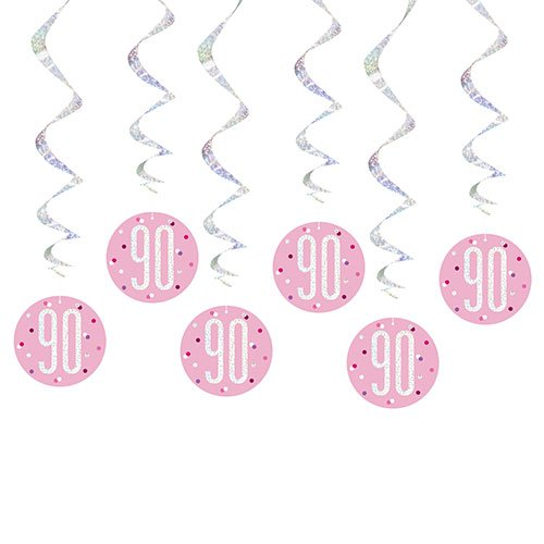 Pink Glitz Age 90 Holographic Hanging Swirl Decorations - Pack of 6 Product Image