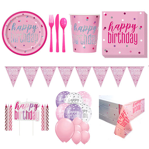 Pink Glitz Happy Birthday 16 Person Deluxe Party Pack