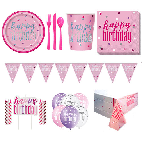 Pink Glitz Happy Birthday 8 Person Deluxe Party Pack