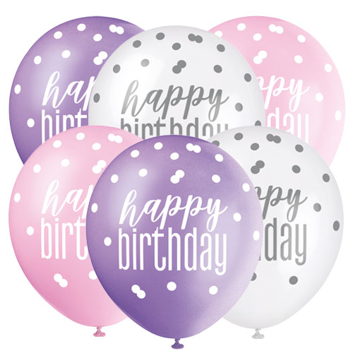 Pink Glitz Happy Birthday Assorted Biodegradable Latex Balloons 30cm / 12 in - Pack of 6