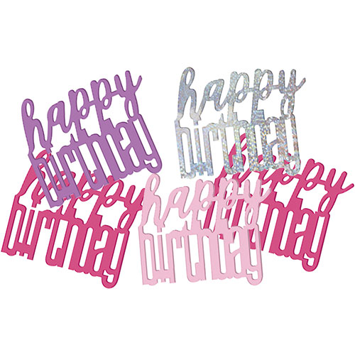 Pink Glitz Happy Birthday Holographic Assorted Table Confetti 14 Grams Product Image