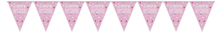 Pink Glitz Happy Birthday Holographic Foil Pennant Bunting 274cm