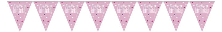 Pink Glitz Happy Birthday Holographic Foil Pennant Bunting 274cm Product Image