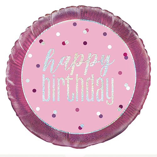 Pink Glitz Happy Birthday Holographic Round Foil Helium Balloon 46cm / 18 in