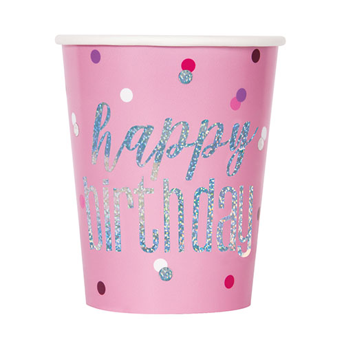 Pink Glitz Holographic Birthday Paper Cups 270ml - Pack of 8