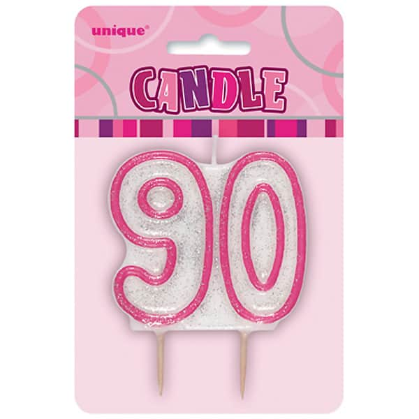 Pink Glitz Theme Number Candle - Number 90