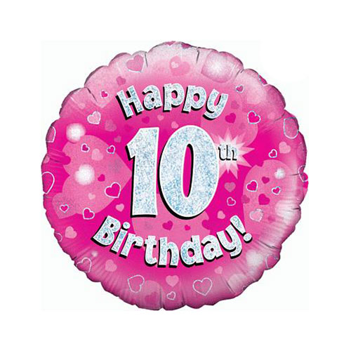 Pink Happy 10th Birthday Holographic Round Foil Helium Balloon 46cm / 18 in