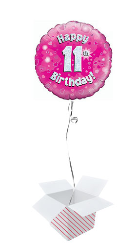 Pink Happy 11th Birthday Holographic Round Foil Helium Balloon - Inflated Balloon in a Box