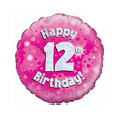 Pink Happy 12th Birthday Holographic Round Foil Helium Balloon 46cm / 18 in