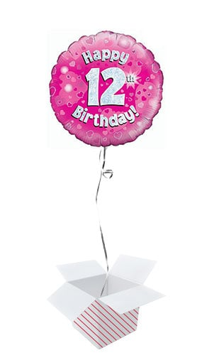 Pink Happy 12th Birthday Holographic Round Foil Helium Balloon - Inflated Balloon in a Box Product Image