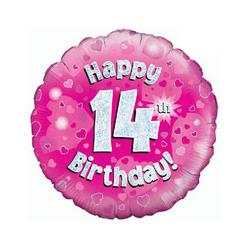 Pink Happy 14th Birthday Holographic Round Foil Helium Balloon 46cm / 18 in
