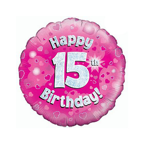 Pink Happy 15th Birthday Holographic Round Foil Helium Balloon 46cm / 18 in