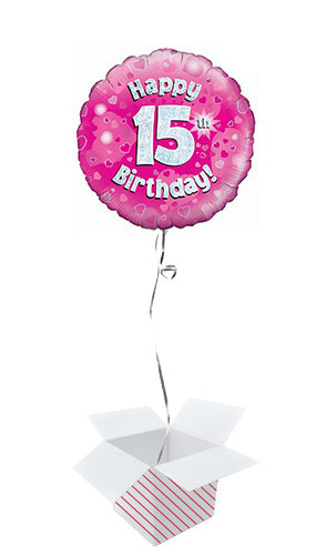 Pink Happy 15th Birthday Holographic Round Foil Helium Balloon - Inflated Balloon in a Box