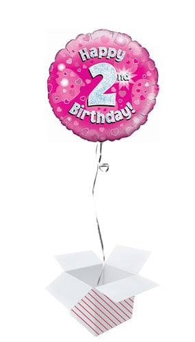 Pink Happy 2nd Birthday Holographic Round Foil Helium Balloon - Inflated Balloon in a Box