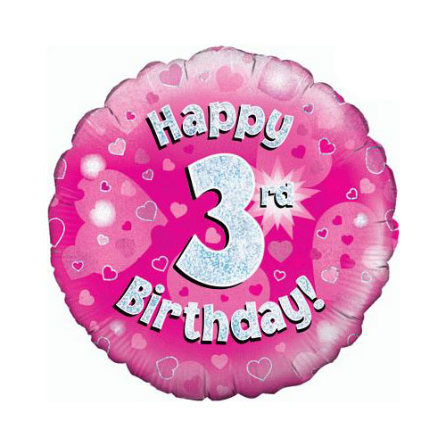 Pink Happy 3rd Birthday Holographic Round Foil Helium Balloon 46cm / 18 in