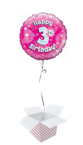 Pink Happy 3rd Birthday Holographic Round Foil Helium Balloon - Inflated Balloon in a Box Product Image