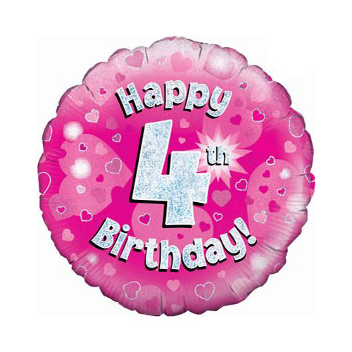 Pink Happy 4th Birthday Holographic Round Foil Helium Balloon 46cm / 18 in