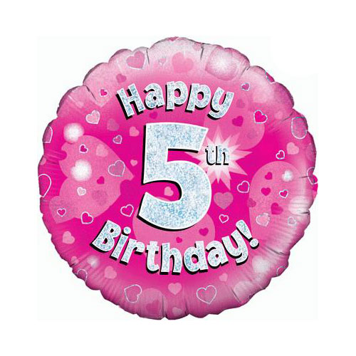 Pink Happy 5th Birthday Holographic Round Foil Helium Balloon 46cm / 18 in Product Image