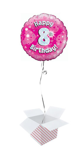 Pink Happy 8th Birthday Holographic Round Foil Helium Balloon - Inflated Balloon in a Box