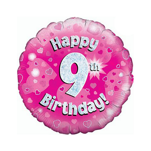 Pink Happy 9th Birthday Holographic Round Foil Helium Balloon 46cm / 18 in