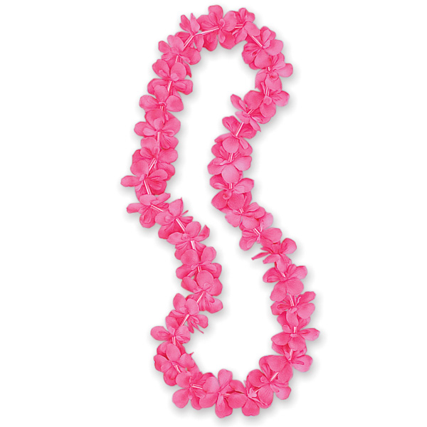 Pink Hawaiian Fabric Flower Lei - 40 Inches / 102cm Product Image