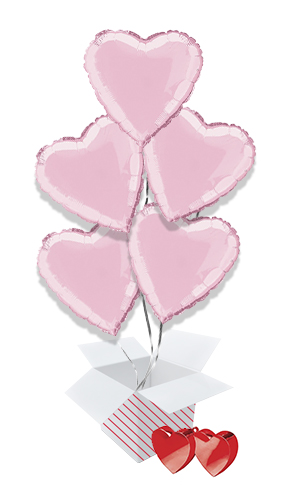 Pink Heart Foil Helium Valentine's Day Balloon Bouquet - 5 Inflated Balloons In A Box Product Image
