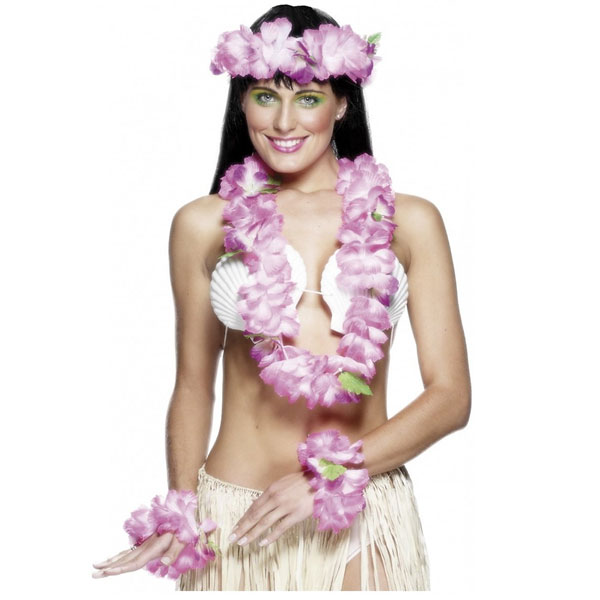 Pink Lei with Headband and Wristbands