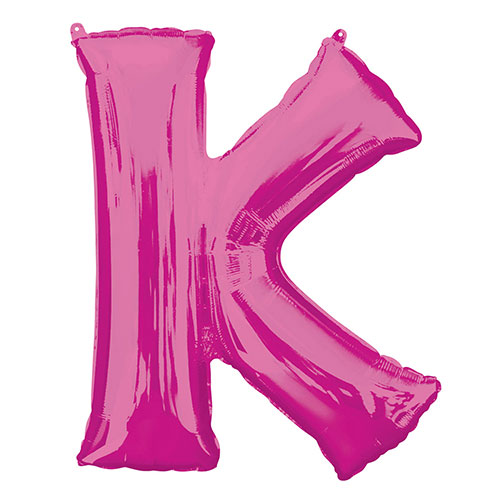 Pink Letter K Air Fill Foil Balloon 40cm / 16 in Product Image