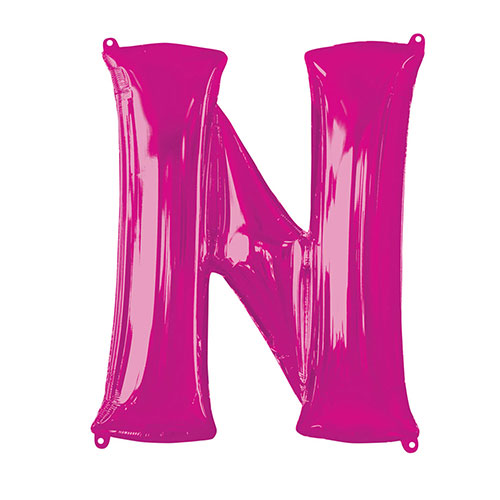 Pink Letter N Air Fill Foil Balloon 40cm / 16 in Product Image