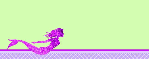 Pink Mermaid Design Small Personalised Banner - 4ft x 2ft