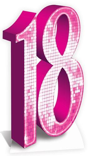 Pink Number 18 Lifesize Cardboard Cutout - 176cm