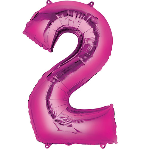 Pink Number 2 Air Fill Foil Balloon 40cm / 16 in