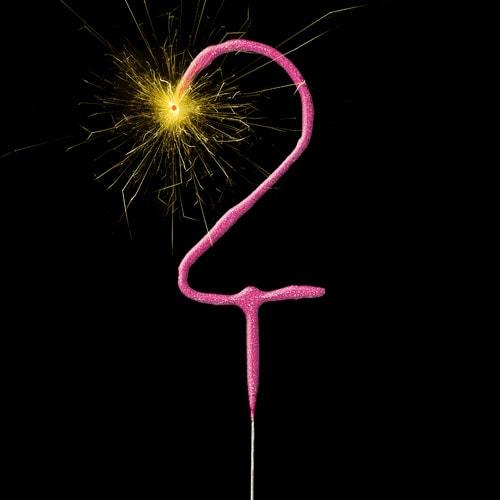 Pink Number 2 Non Hand Held Sparkler 17cm