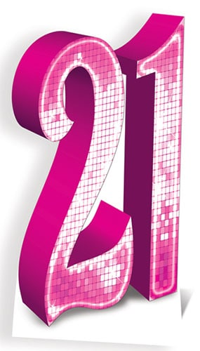 Pink Number 21 Lifesize Cardboard Cutout - 185cm