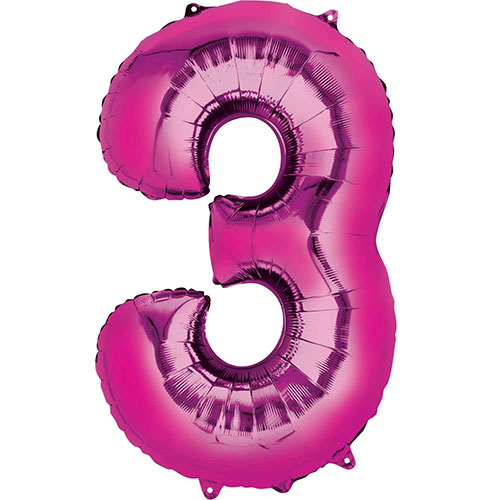 Pink Number 3 Air Fill Foil Balloon 40cm / 16 in Product Image