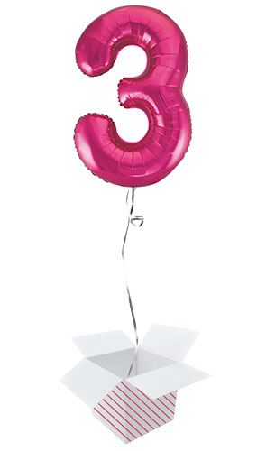 Pink Number 3 Helium Foil Giant Balloon - Inflated Balloon in a Box Product Image