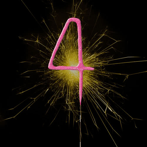 Pink Number 4 Non Hand Held Sparkler -18cm Product Image