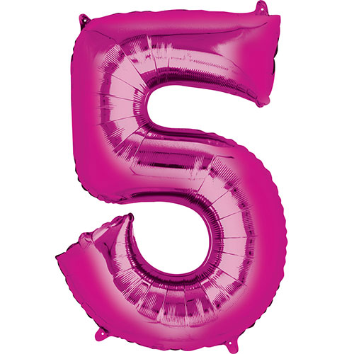 Pink Number 5 Air Fill Foil Balloon 40cm / 16 in Product Image
