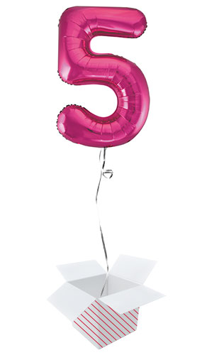 Pink Number 5 Helium Foil Giant Balloon - Inflated Balloon in a Box Product Image