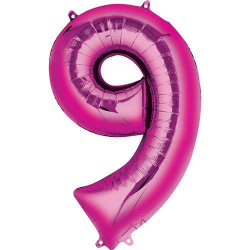 Pink Number 9 Air Fill Foil Balloon 40cm / 16 in