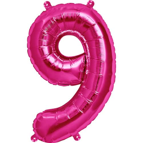 Pink Number 9 Air Fill Foil Balloon - 16 Inches / 41cm Product Image