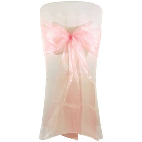 Pink Organza Wedding Chair Bow Tie - 3m x 22cm Pack Of 6
