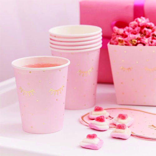 Pamper Party Gold Foiled Sleepy Eyes Paper Cups 260ml - Pack of 8 Product Image