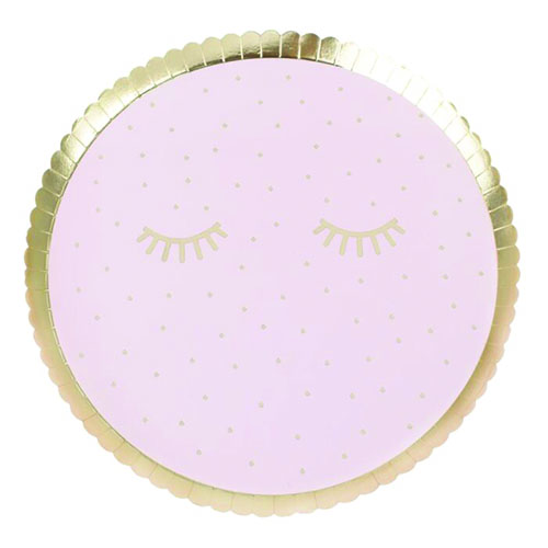 Pamper Party Gold Foiled Sleepy Eyes Round Paper Plates 24cm - Pack of 8 Product Gallery Image