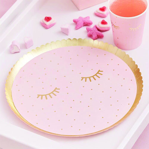 Pamper Party Gold Foiled Sleepy Eyes Round Paper Plates 24cm - Pack of 8
