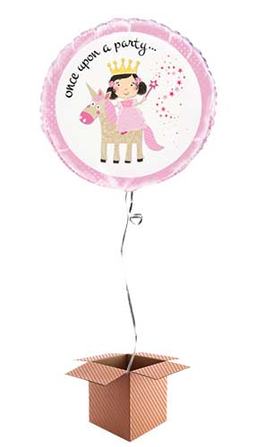 Princess and Unicorn Round Foil Balloon - Inflated Balloon in a Box Product Image