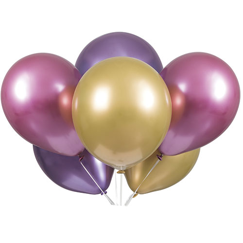 Pink Purple & Gold Platinum Assorted Latex Balloons 28cm / 11 in - Pack of 6 Product Image