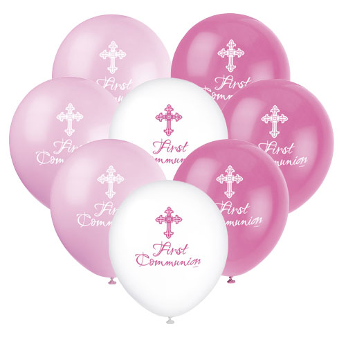 Pink Radiant Cross First Communion Assorted Biodegradable Latex Balloons 30cm / 12Inch - Pack of 8 Product Image
