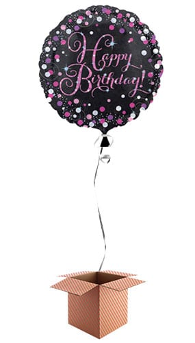 Pink Sparkling Happy Birthday Round Foil Balloon - Inflated Balloon in a Box Product Image